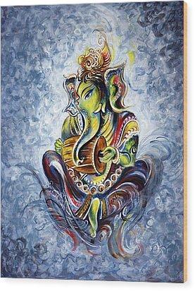 Musical Ganesha Wood Print