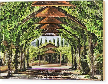 Wood Print featuring the painting Garden by Muhie Kanawati