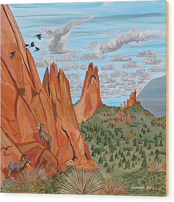 Garden Of The Gods Wood Print by Mike Nahorniak