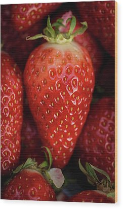 Gariguette Strawberries Wood Print by Aberration Films Ltd