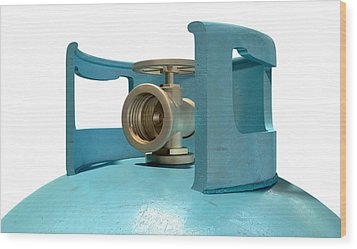 Gas Cylinder Valve Closeup Wood Print by Allan Swart
