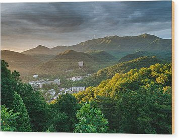 Gatlinburg Tennessee Great Smoky Mountain Sunrise Wood Print by Mark VanDyke