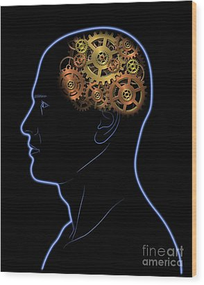 Gears In The Head Wood Print by Michal Boubin