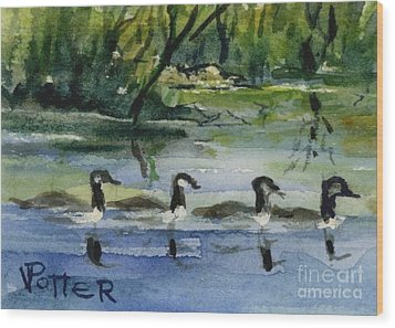 Geese In A Row Aceo Wood Print by Virginia Potter
