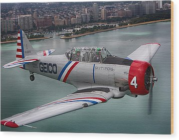 Geico Skytypers Wood Print by Jerome Lynch