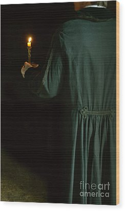 Gentleman In 18th Century Clothing With A Candle Wood Print by Jill Battaglia