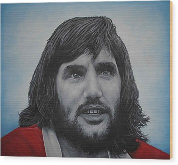 Wood Print featuring the painting George Best 'belfast Boy' by David Dunne