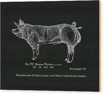 Wood Print featuring the drawing German Pietrain Boar by Larry Campbell