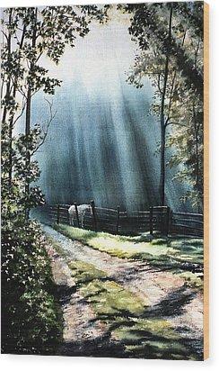 Ghost Horse Wood Print by Rita Cooper