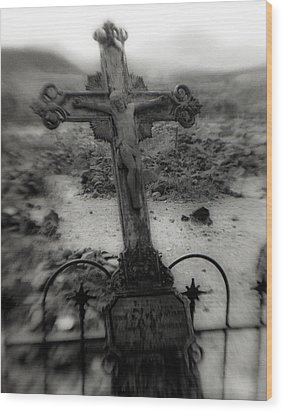 Ghost Town Cross Wood Print by Sonja Quintero