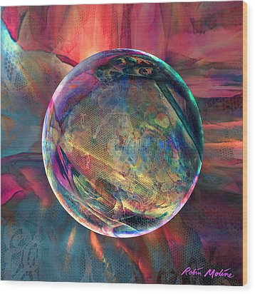 Ghosting Psychedelic Lace Wood Print by Robin Moline