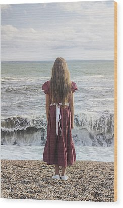 Girl On Beach Wood Print by Joana Kruse