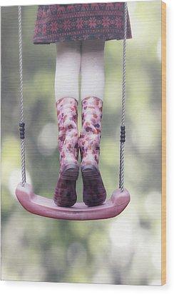 Girl Swinging Wood Print by Joana Kruse
