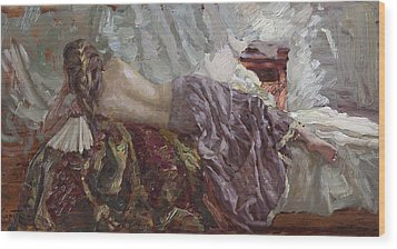 Girl With A Fan Wood Print by Korobkin Anatoly