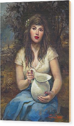 Girl With Pitcher Wood Print by Ron Escudero