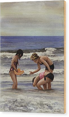Girls At The Beach Wood Print by Sam Sidders