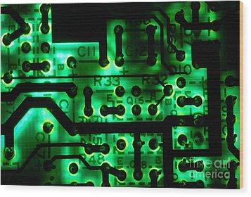 Glowing Green Circuit Board Wood Print by Amy Cicconi