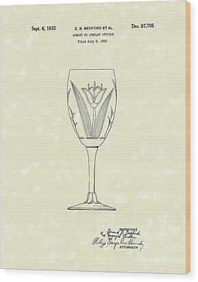 Goblet 1932 Patent Art Wood Print by Prior Art Design