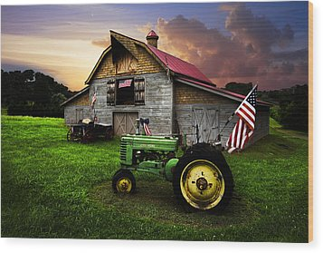 God Bless America Wood Print by Debra and Dave Vanderlaan