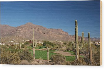 Gold Canyon Arizona Golf Wood Print by Michael J Bauer
