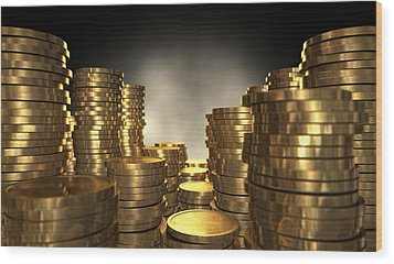 Gold Coin Stacks Wood Print by Allan Swart