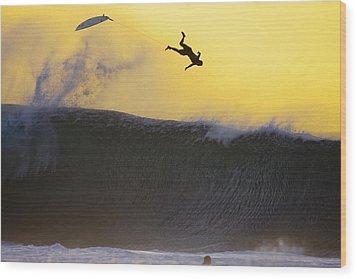 Gold Leap Wood Print by Sean Davey