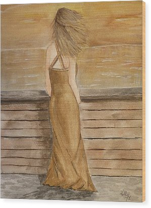 Wood Print featuring the painting Golden Breeze by Kelly Mills