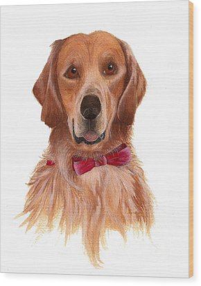 Wood Print featuring the painting Golden Labrador by Nan Wright