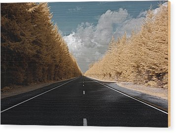 Golden Road Wood Print