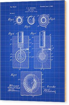 Golf Ball Patent 1902 - Blue Wood Print