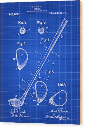 Golf Club Patent 1909 - Blue Wood Print