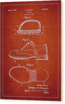 Golf Shoe Patent Drawing From 1931 Wood Print by Aged Pixel