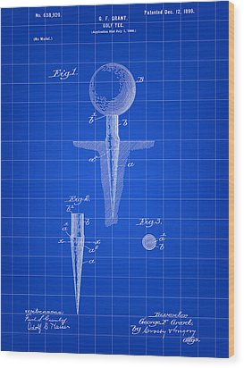 Golf Tee Patent 1899 - Blue Wood Print by Stephen Younts