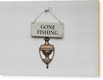 Gone Fishing Forever Wood Print by Tim Gainey