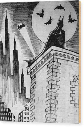 Wood Print featuring the painting Gotham  by Salman Ravish