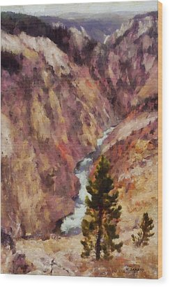 Wood Print featuring the painting Grand Canyon Of The Yellowstone by Kai Saarto