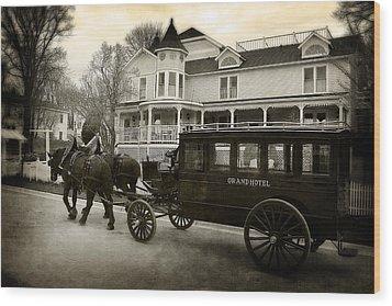 Grand Hotel Taxi Wood Print by Scott Hovind