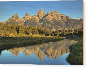Wood Print featuring the photograph Grand Teton by Alan Vance Ley