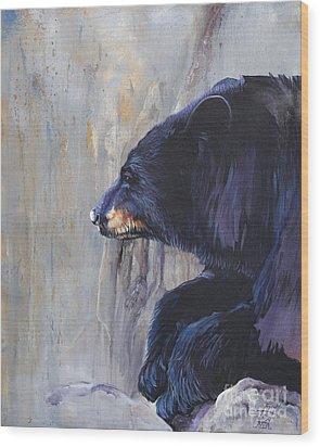 Grandfather Bear Wood Print by J W Baker