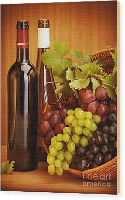 Grape Wine Still Life Wood Print by Anna Om