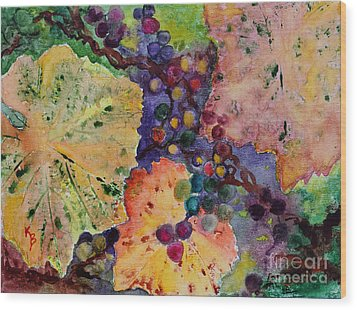Wood Print featuring the painting Grapes And Leaves by Karen Fleschler
