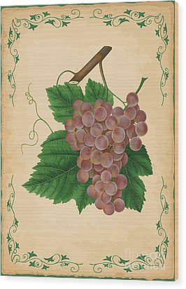 Grapes Illustration Wood Print by Indian Summer