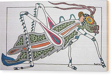 Grasshopper II Wood Print by Kruti Shah