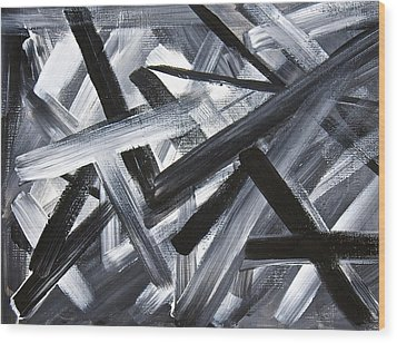 Wood Print featuring the painting Gray Matter Breaking Through The Darkness by Tracey Myers