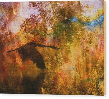 Wood Print featuring the digital art Great Blue Heron Abstract by J Larry Walker