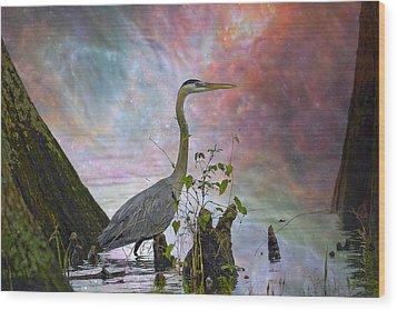 Wood Print featuring the digital art Great Blue Heron In A Heavenly Mist by J Larry Walker