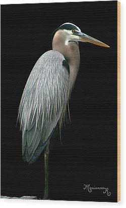 Wood Print featuring the photograph Great Blue Heron by Mariarosa Rockefeller