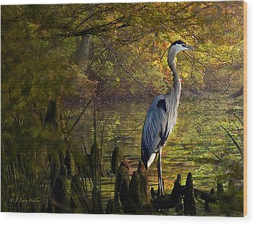 Wood Print featuring the digital art Great Blue Heron Wading by J Larry Walker