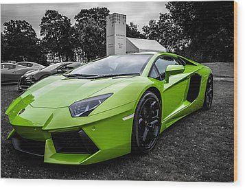 Green Aventador Wood Print