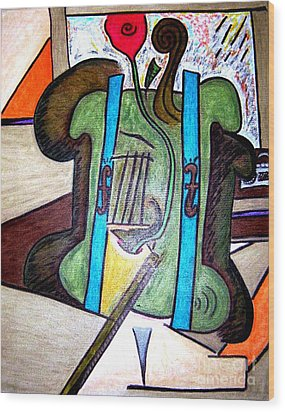 Green Cello Plants In A Pot Wood Print by Lois Picasso